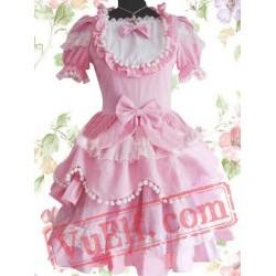 Sweet Pink Bow Short Sleeves Scalloped Cotton Lolita Dress