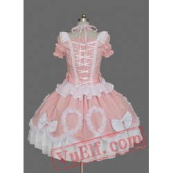 Pink Puff Sleeves Cotton Sweet Lolita Dress