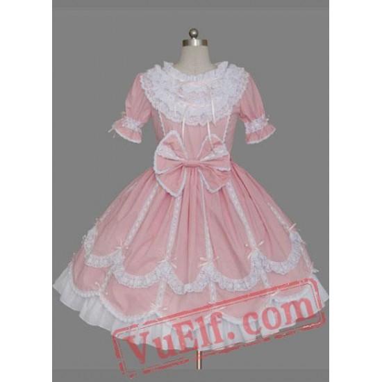 Pink Short Sleeves Bow Cotton Sweet Lolita Dress