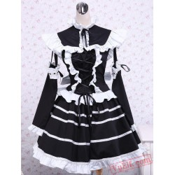 Black Cotton Bandage Striped Gothic Lolita Dress