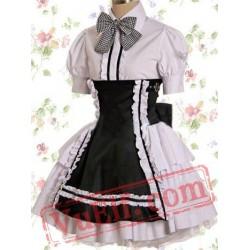 White And Black Cotton Short Sleeve Bow School Lolita Dress
