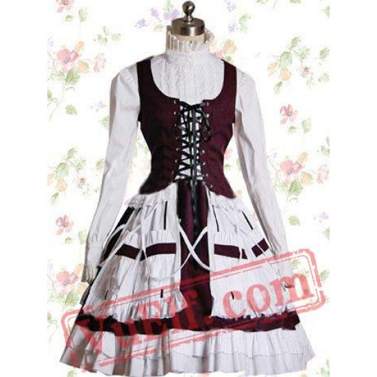 White And Bordeaux Cotton Stand Collar Bandage Sweet Lolita Dres