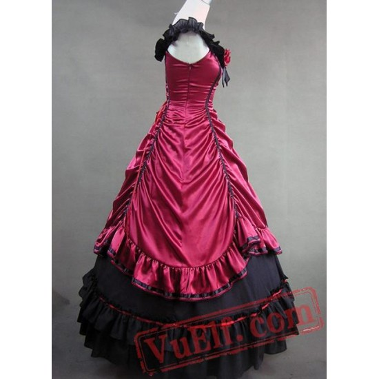 Deep Red and Black Satin Gothic Victorian Gown