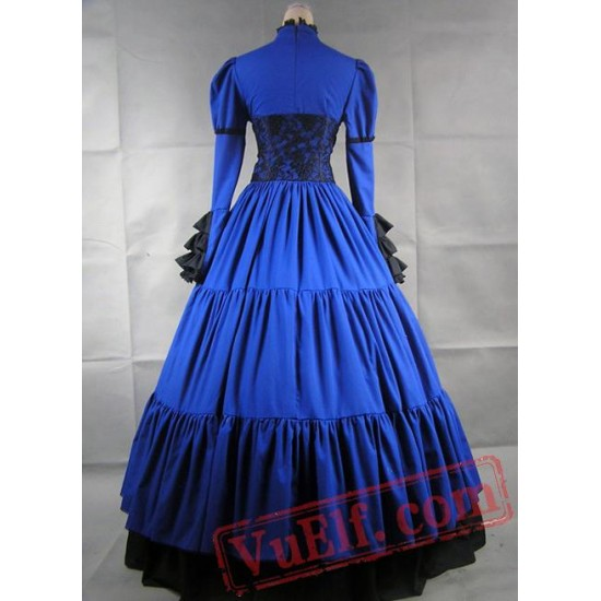 Blue and Black Long Sleeves Gothic Victorian Dress