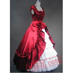 Deep Red and White Gothic Victorian Dress