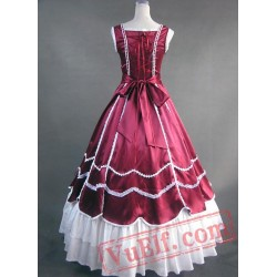 Deep Red and White Victorian Ball Gown