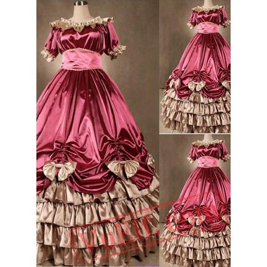 Elegant Pink Gothic Victorian Dress