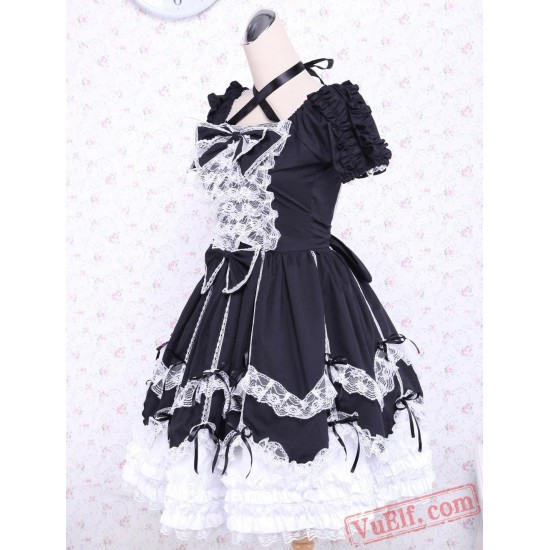Short Sleeves Cotton Bow Black And White Gothic Lolita Dress