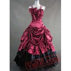 Deep Red Spaghetti Straps Gothic Victorian Dress