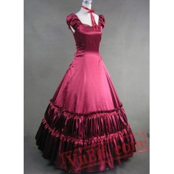 Elegant Red Victorian Pattern Ball Gown