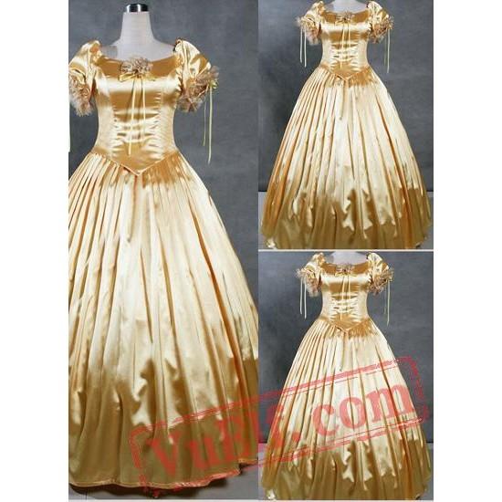 Graceful Golden Gothic Victorian Dress