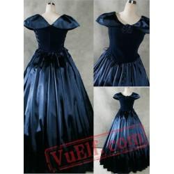 Fancy Navy Blue Gothic Victorian Dress