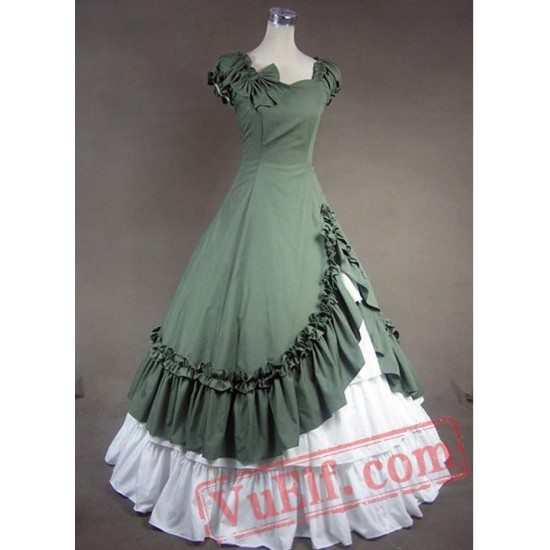 Green and White Sweetheart Cotton Victorian Dress