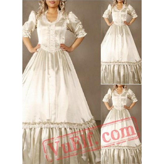 New Arrival Cream White Gothic Victorian Dress