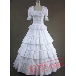 Pure White Long Cotton Victorian Lolita Dress