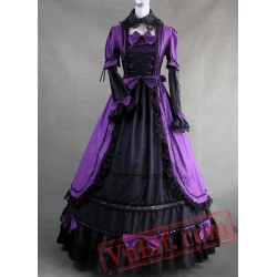 Purple and Black Gothic Victorian Dress