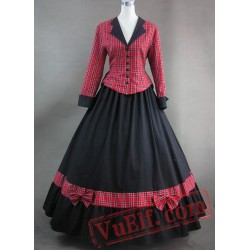 Red Plaid Long Sleeves Noble Victorian Dress
