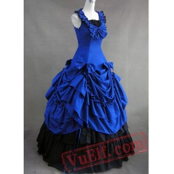 Jewelry Blue and Black Gothic Cotton Victorian Dress