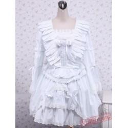 White Ruffle Lace Cotton Gothic Lolita Dress