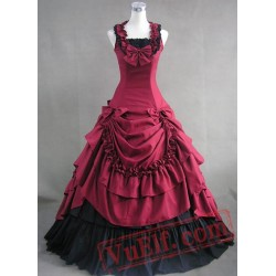 Red and Black Cotton Victorian Dress