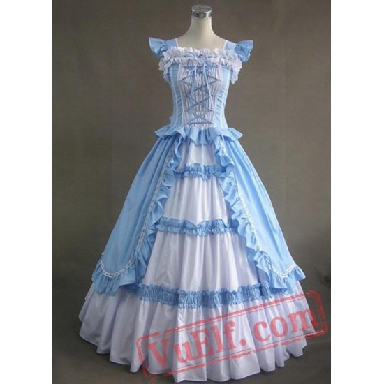 Light Blue Sleeveless Long Gothic Victorian Gown