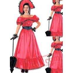 Red Off the Shoulder Victorian Dress
