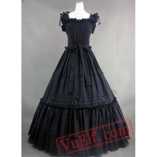 Long Black Square Neckline Vitorian Dress