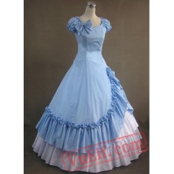 Sky Blue and White Victorian Style Dress