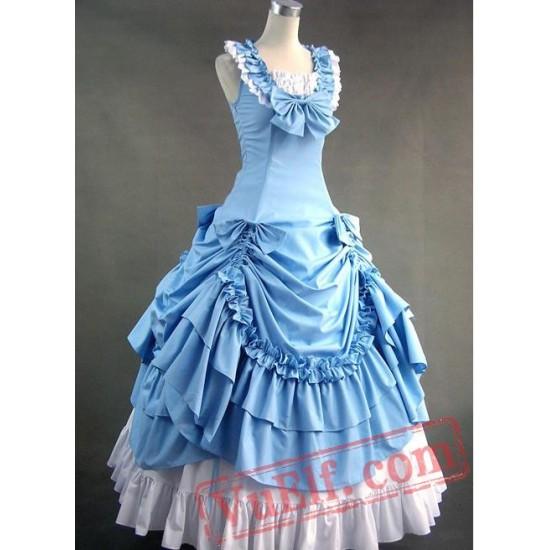 Sky Blue Sleeveless Victorian Prom Dress