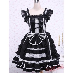 Black Sleeveless Bandage Lace Cotton Gothic Lolita Dress