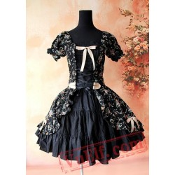 Black Printed Flowers Lolita One Piece Dress