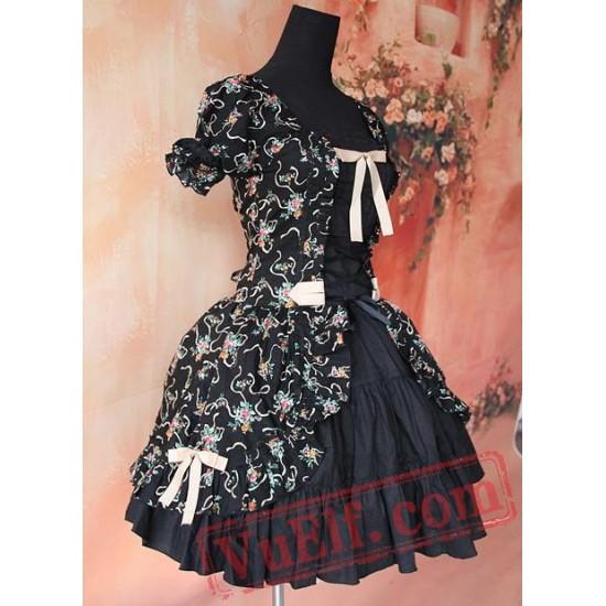 Black Printed Flowers Lolita One Piece Dress