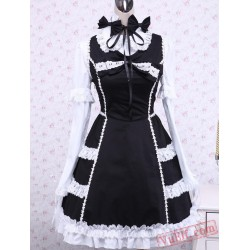Black Cotton Long Sleeves Ruffled Gothic Lolita Dress