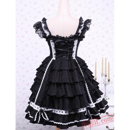 Black Sleeveless Bandage Lace Cotton Gothic Lolita Dress