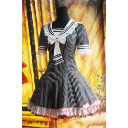 Black White Strips Sailor Lolita Dress