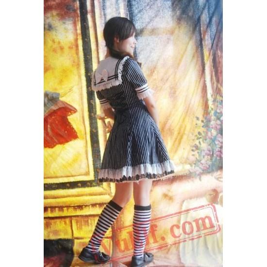 Black White Strips Sailor Lolita Dress