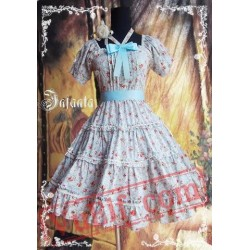 Blue Flowers Bow Lolita OP Dress