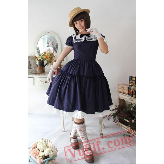 Early Summer Sailor Style One Piece Lolita Dress