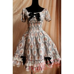 Black Circle Flowers Lolita Short Sleeves Dress