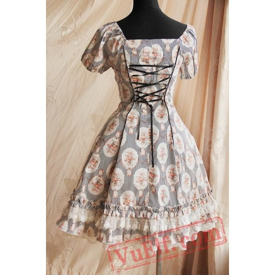Black Circle Flowers Lolita Short Sleeves Dress