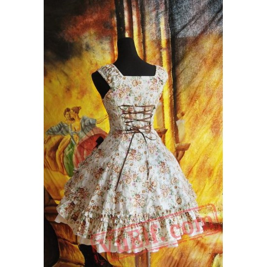 Brown Bold Flowers Lolita Dress JSK
