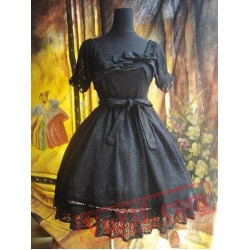Black Gothic Lolita Dress Multiple Bows Lace