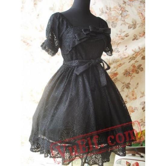 Black Gothic Lolita Dress Multiple Bows Lace