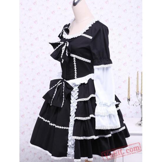 Black Cotton Gothic Lolita Dress