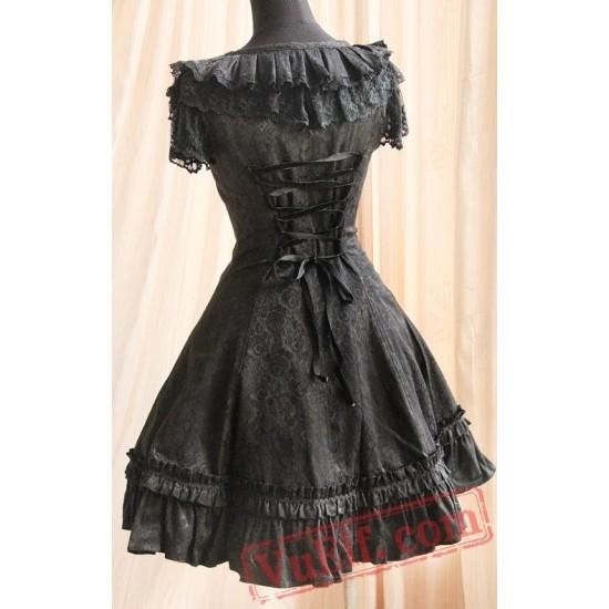 Black Gothic Style Lolita One Piece Dress from Infanta