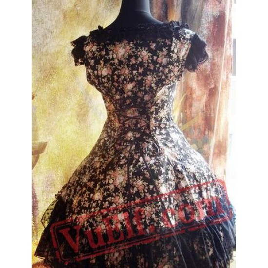 Classic Black Roses Lolita Dress JSK