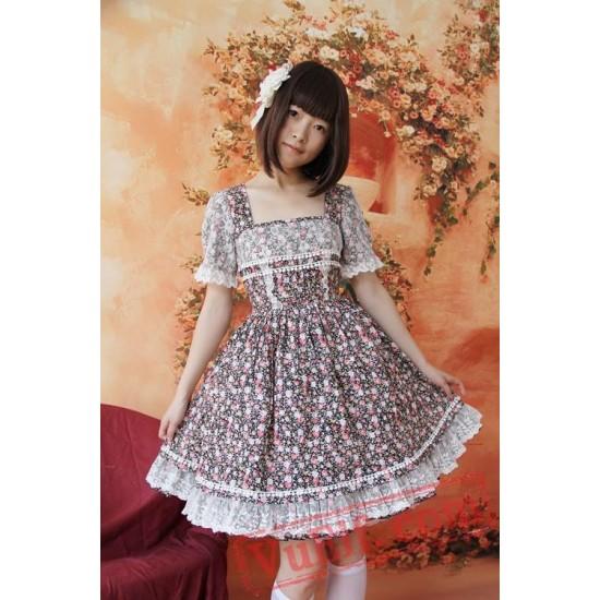 Classic Delicate Flowers Short Sleeves OP Dress