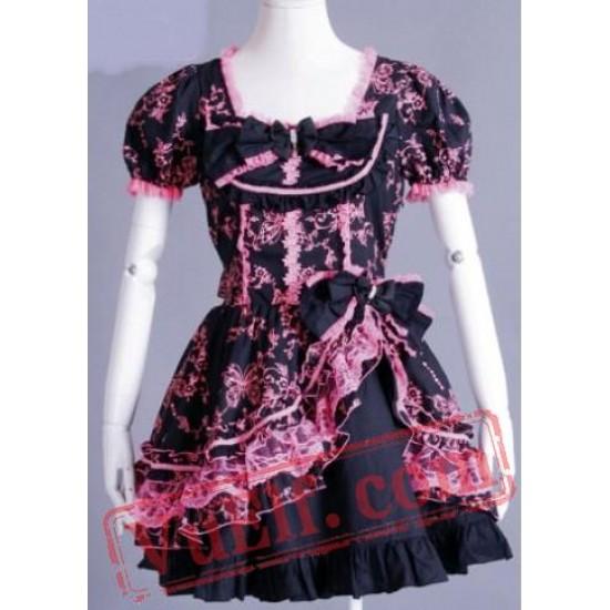 Black and Pink Short Sleeve Knee Length Gothic Lolita Wedding Dr