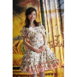Cotton Floral Prints Lolita Short Sleeves Dress