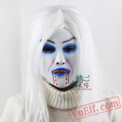 White Hair Witch Halloween Masks